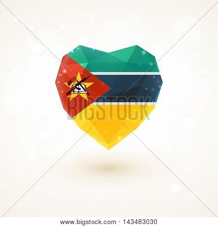 flag of Mozambique in shape of diamond glass heart in triangulation style for info graphics, greeting card, celebration of Independence Day, printed materialsFlag of Laos in shape of diamond glass heart in triangulation style for info graphics, greeting c