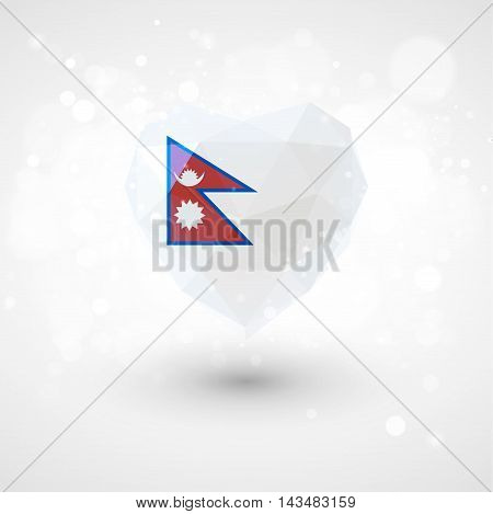 Flag of Nepal in shape of diamond glass heart in triangulation style for info graphics, greeting card, celebration of Independence Day, printed materialsFlag of Laos in shape of diamond glass heart in triangulation style for info graphics, greeting card,