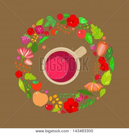 Illustration of red tea cups on top in a frame of leaves, berries and flowers of red, orange and green colors on a brown background.