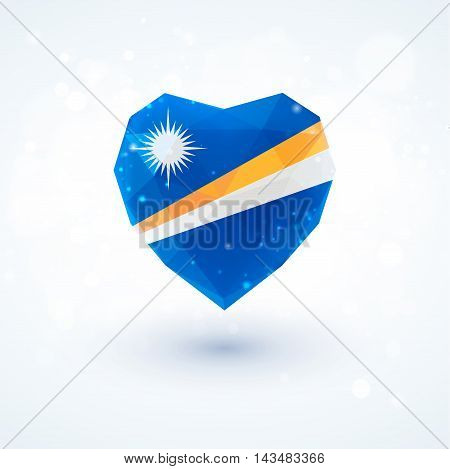 Flag of the Marshall Islands in shape of diamond glass heart in triangulation style for info graphics, greeting card, celebration of Independence Day, printed materials