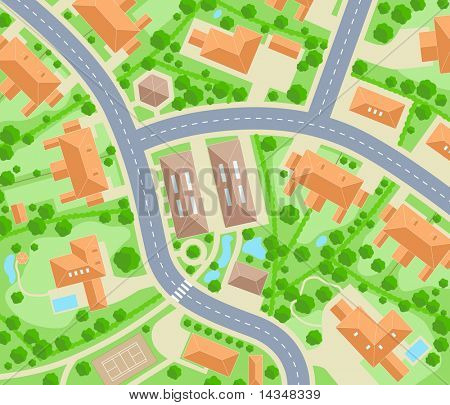 Illustrated map of a generic residential area
