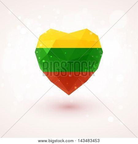 Lithuanian flag in shape of diamond glass heart in triangulation style for info graphics, greeting card, celebration of Independence Day, printed materials