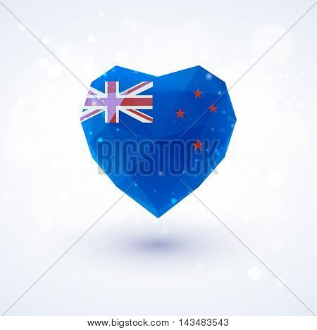 New Zealand flag in shape of diamond glass heart in triangulation style for info graphics, greeting card, celebration of Independence Day, printed materials