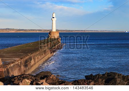 Lighthouse on sunny day in Aberdeen Scotland, United Kingdom