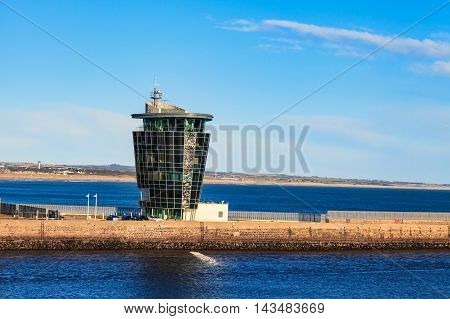 ABERDEEN SCOTLAND - 30 JANUARY 2016: The Marine Operations Centre at Pocra Quay North Pier. Opened in 2006 it controls shipping in and out of the port one of the UK's busiest ports.