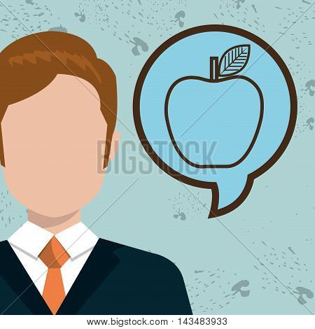 man idea bubble speak vector illustration design