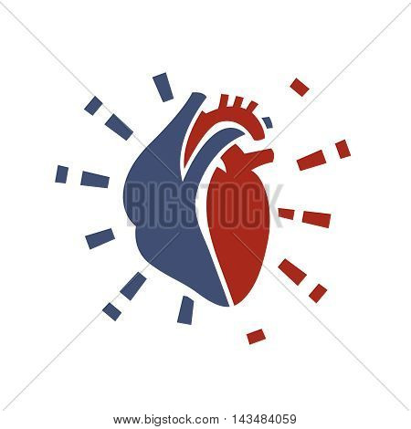 Heart symbol. Useful for sign development, indographics, postcard, leaflet, brochure, print, book and poster graphic design. Beautiful vector illustation in red and violet colors.