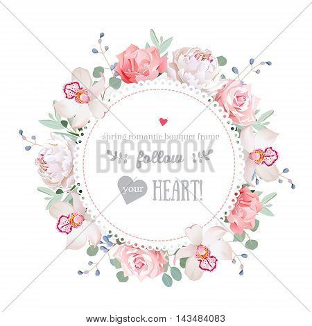 Luxury peony orchid rose pink flowers blue berries and eucalyptus leaves round vector frame. All elements are isolated and editable.