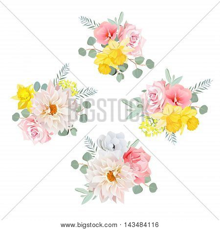 Bouquets of dahlia rose narcissus anemone pink flowers and eucalyptus leaves. All elements are isolated and editable.