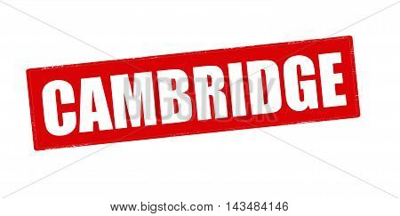 Rubber stamp with word Cambridge inside vector illustration