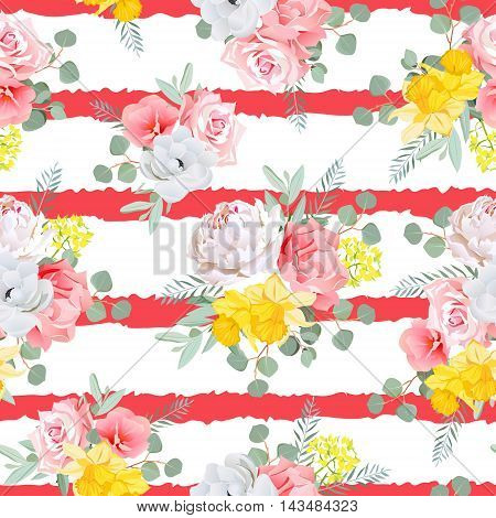 Red striped print with bouquets of rose peony narcissus pink and yellow flowers eucaliptis leaves. Seamless vector pattern with white backdrop.