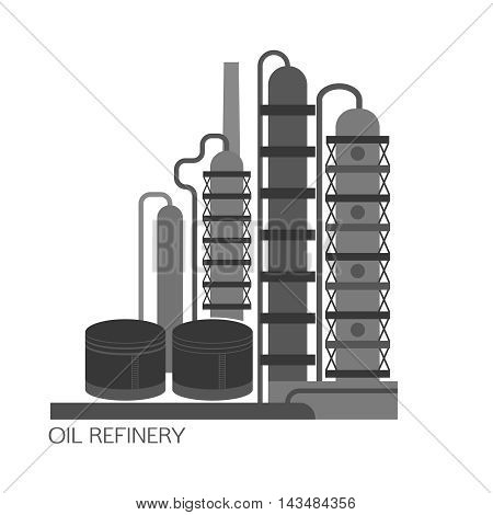 Oil refinery or chemical plant image. Vector illustration im black and grey colors on a white background. Oil patch symbol