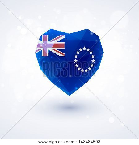 Flag of Cook Islands in shape of diamond glass heart in triangulation style for info graphics, greeting card, celebration of Independence Day, printed materials