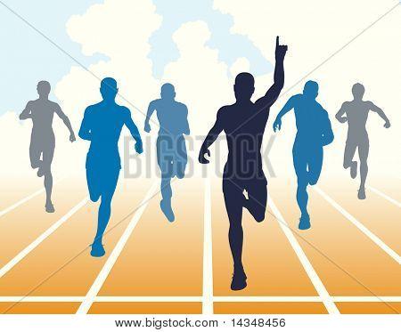 Illustration of men finishing a sprint race