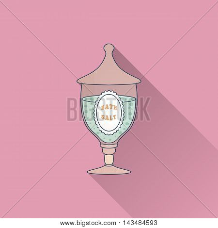 Hand drawn glass jar with spa salt. Flat icon with long shadow. Concept for beauty salon massage cosmetic and spa. Isolated high quality vector graphic. Easy to use business template.