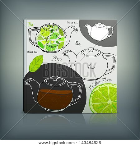 Beautiful Menu concept for an eating house, restaurant, coffee-room, tea-house, tea-room, tea-shop, cafe or roastery. Editable vector illustration based on a hand drawn elements.
