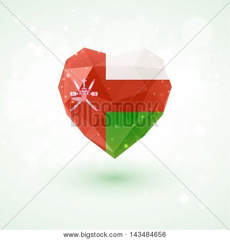 Flag of Oman in shape of diamond glass heart in triangulation style for info graphics, greeting card, celebration of Independence Day, printed materials