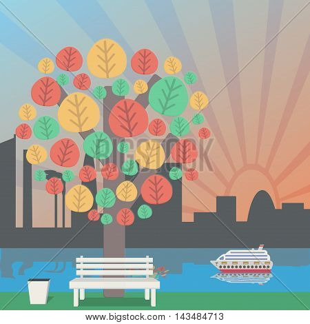autumn in the Park, the city skyline. Autumn tree and bench to the trash.