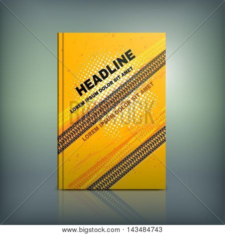 Vector tyre brochure cover template. Modern background for poster, print, flyer, book, booklet, brochure and leaflet design. Editable graphic collection in orange, yellow and black colors