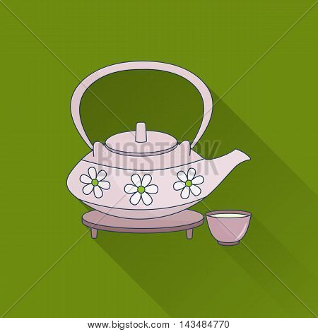Hand drawn teapot and cups. Flat icon with long shadow. Concept for beauty salon massage cosmetic and spa. Isolated high quality vector graphic. Easy to use business template.