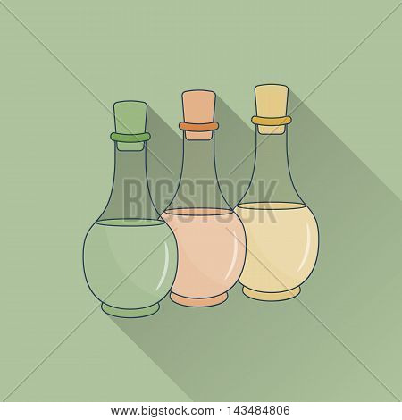 Hand drawn bottles of spa oils. Flat icon with long shadow. . Concept for beauty salon massage cosmetic and spa. Isolated high quality vector. Easy to use business template.