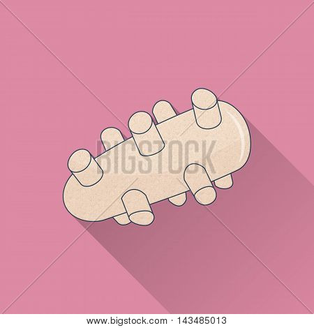 Hand drawn reflexology Thai hand massage tool. Flat icon colored image with long shadow on pink background.