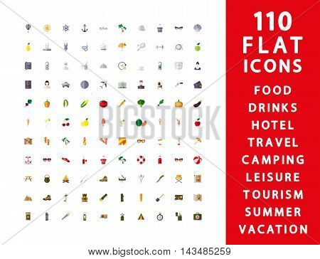 Flat icons. Set 110 pcs. for web and mobile application. Vector illustration on a white background.