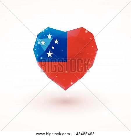 Flag of Samoa in shape of diamond glass heart in triangulation style for info graphics, greeting card, celebration of Independence Day, printed materials