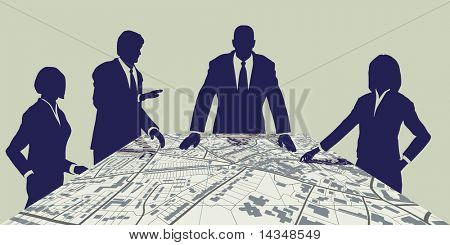 Illustration of people meeting around a generic city map