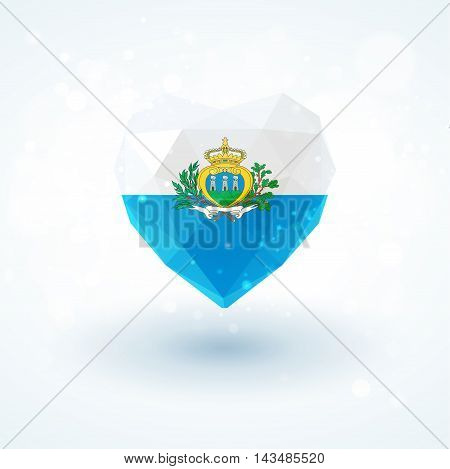 Flag of San Marino in shape of diamond glass heart in triangulation style for info graphics, greeting card, celebration of Independence Day, printed materials