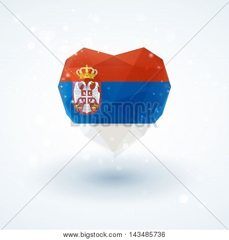 Flag of Serbia in shape of diamond glass heart in triangulation style for info graphics, greeting card, celebration of Independence Day, printed materials