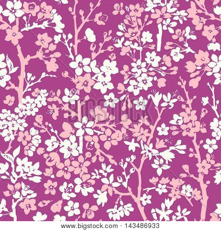 Seamless floral pattern with cherry flowers