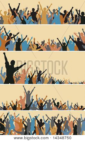 Set of colorful editable vector crowd silhouettes