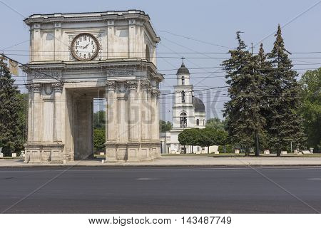 Chisinau, Moldova- July 30, 2016: Victory Arch In National Assembly Square, Chisinau, Moldova. The T