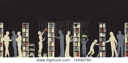 Editable vector silhouette of people in a library