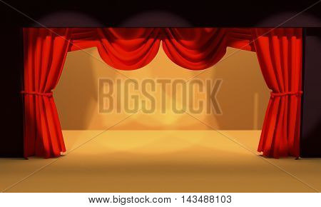 Curtain open on stage with spotlight 3d render