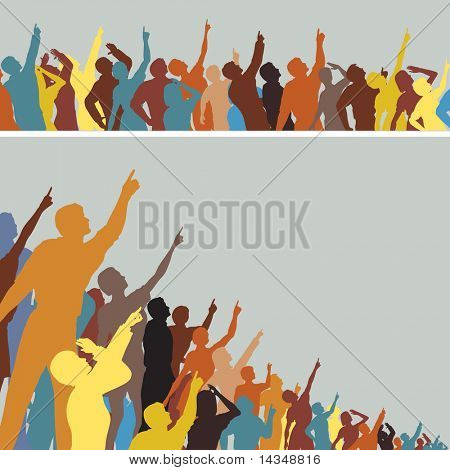 Two colorful editable vector silhouettes of crowds pointing and looking upwards