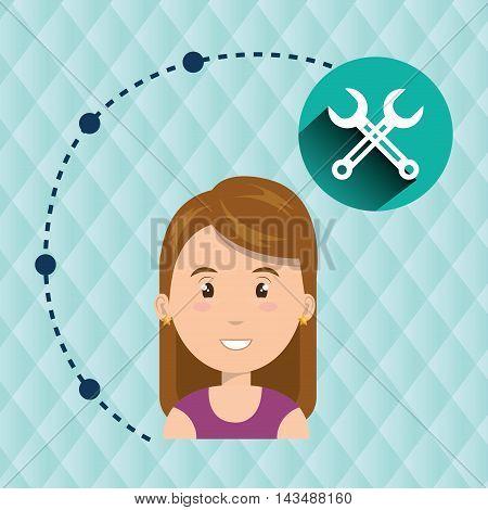 girl connection app icon vector illustration design