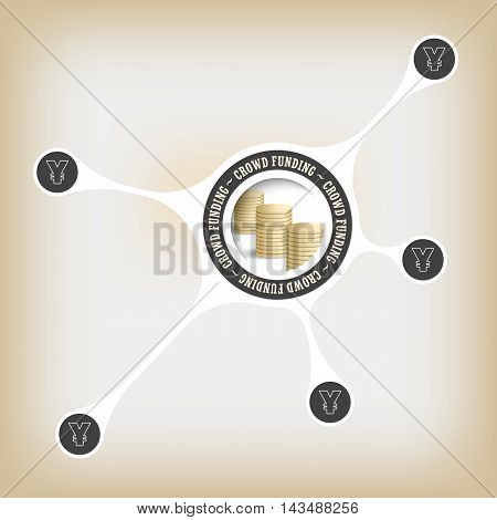 Circular object with theme of crowd funding and yen symbol