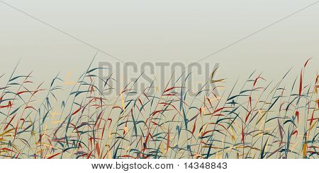 Editable vector silhouette of a colorful reed fringe