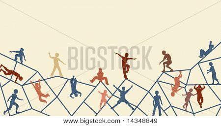 Editable vector foreground silhouette of kids playing on an abstract climbing frame