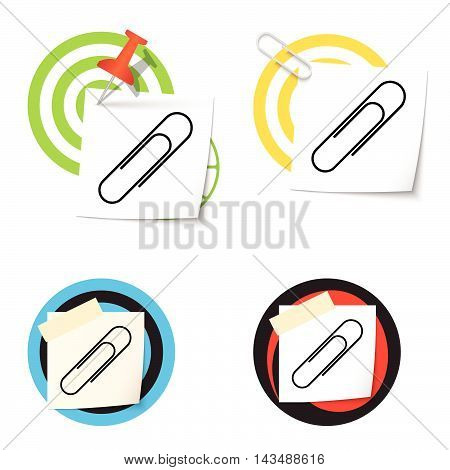 Four colored targets and and paper clip