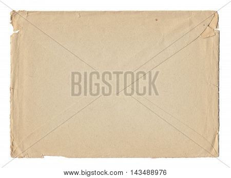 Texture old paper postal envelope with traces of scuffs and stains. Isolated on white background.