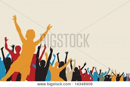 Illustrated colorful silhouette of a cheering crowd