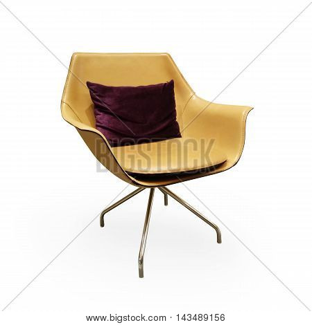 Modern chair in metal on white background
