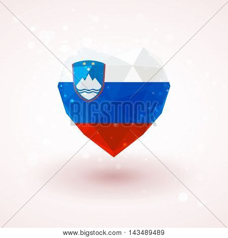 Flag of Slovenia in shape of diamond glass heart in triangulation style for info graphics, greeting card, celebration of Independence Day, printed materials