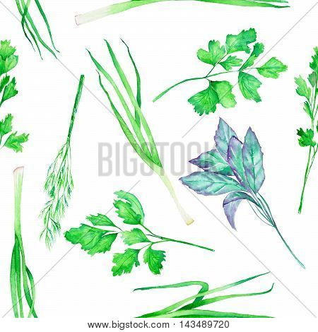 A seamless pattern with the isolated watercolor spices (spicy herbs): onion green, dill, parsley, cilantro and basil, painted on a white background
