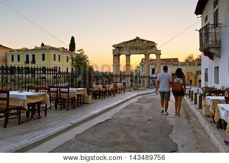 Remains of the Gate of Athena Archegetis in Roman Agora, Athens.