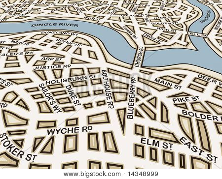 Editable vector street map of an angled generic city with street names