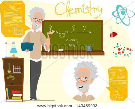 Back to school vector illustration. Chemistry lesson. Infographics chemistry. EPS 10